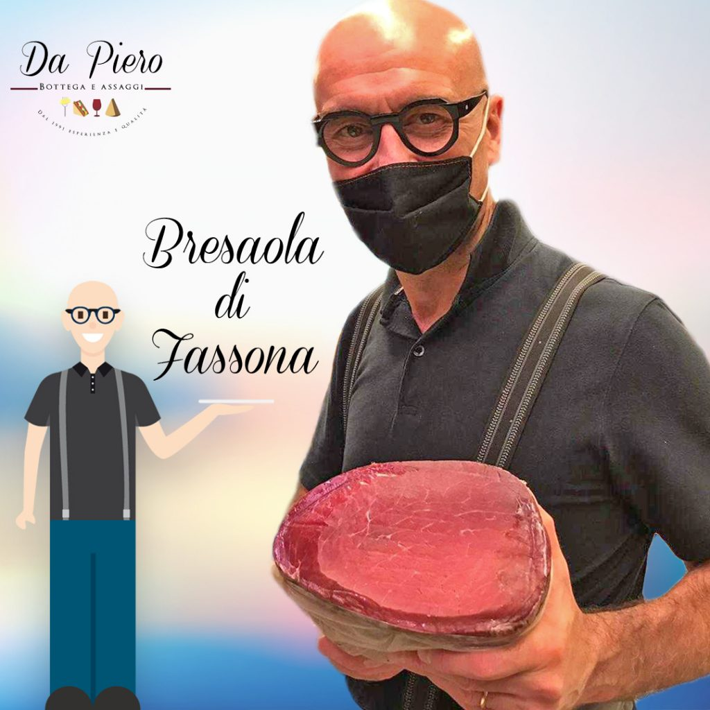 Piero and his grocery store in Casier with Piedmontese Fassona Bresaola